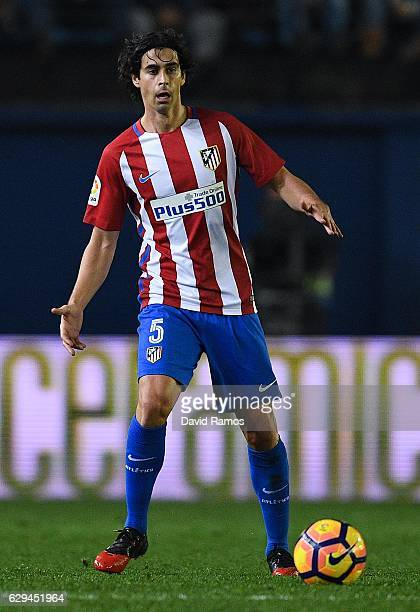 Tiago Mendes of Club Atletico de Madrid runs with the ball during the La Liga match between Villarreal CF and Club Atletico de Madrid at El Madrigal...