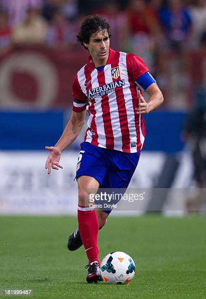 Tiago Mendez of Atletico de Madrid in action during the La Liga match between Atletico de Madrid and Osasuna at Vicente Calderon Stadium on September...