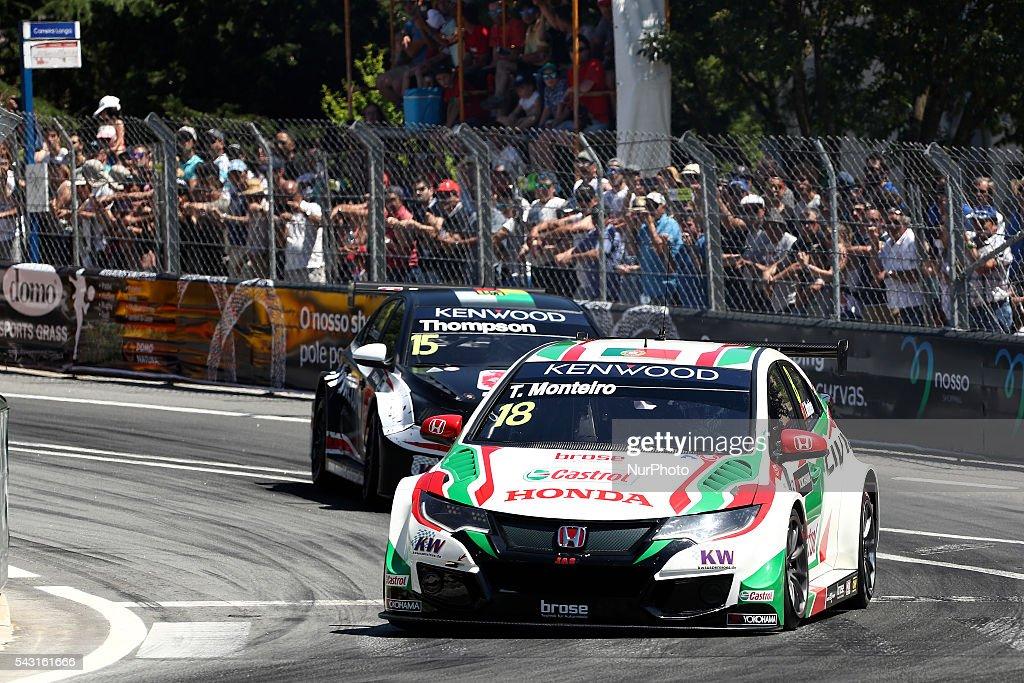 Tiago Monteiro (PRT) in Honda Civic WTCC of Honda Racing Team JAS in action during FIA WTCC 2016, at Vila Real in Portugal, on June 25, 2016.