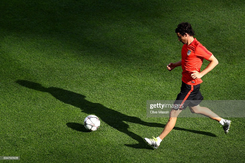 Tiago of Atletico Madrid during an Atletico de Madrid training session on the eve of the UEFA Champions League Final against Real Madrid at Stadio Giuseppe Meazza on May 27, 2016 in Milan, Italy.