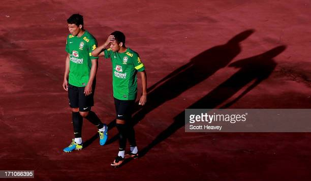 Tiago Silva and Neymar during a Brazil training session ahead of their FIFA Confederations Cup 2013 match against Italy at Estadio Roberto Santos on...