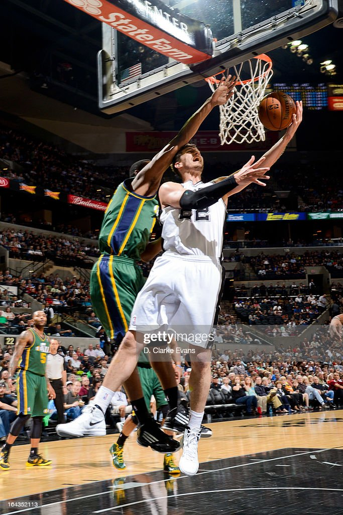 Tiago Splitter #22 of the San Antonio Spurs attempts a reverse layup against the Utah Jazz on March 22, 2013 at the AT&T Center in San Antonio, Texas.
