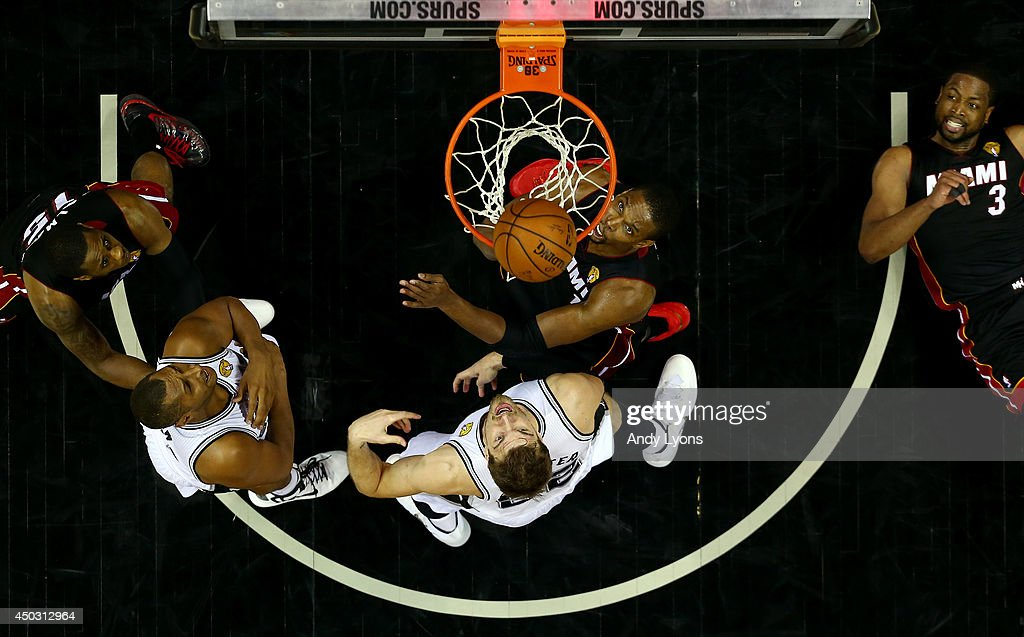 <a gi-track='captionPersonalityLinkClicked' href=/galleries/search?phrase=Tiago+Splitter&family=editorial&specificpeople=208218 ng-click='$event.stopPropagation()'>Tiago Splitter</a> #22 of the San Antonio Spurs goes to the basket against <a gi-track='captionPersonalityLinkClicked' href=/galleries/search?phrase=Chris+Bosh&family=editorial&specificpeople=201574 ng-click='$event.stopPropagation()'>Chris Bosh</a> #1 of the Miami Heat during Game Two of the 2014 NBA Finals at the AT&T Center on June 8, 2014 in San Antonio, Texas.
