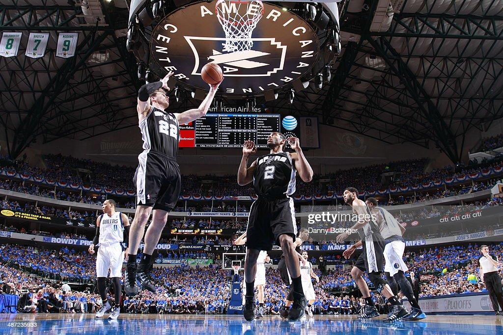 Tiago Splitter #22 of the San Antonio Spurs grabs a rebound against the Dallas Mavericks in Game Four of the Western Conference Quarterfinals during the 2014 NBA Playoffs on April 28, 2014 at the American Airlines Center in Dallas, Texas.