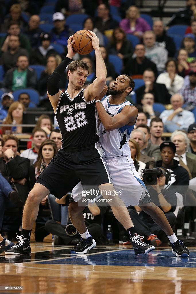 Tiago Splitter #22 of the San Antonio Spurs looks to drive to the basket against the Minnesota Timberwolves on February 6, 2013 at Target Center in Minneapolis, Minnesota.
