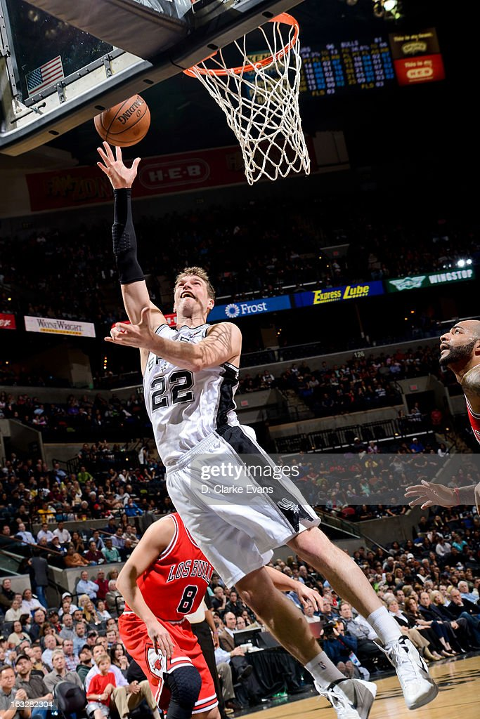 Tiago Splitter #22 of the San Antonio Spurs shoots a layup against the Chicago Bulls on March 6, 2013 at the AT&T Center in San Antonio, Texas.