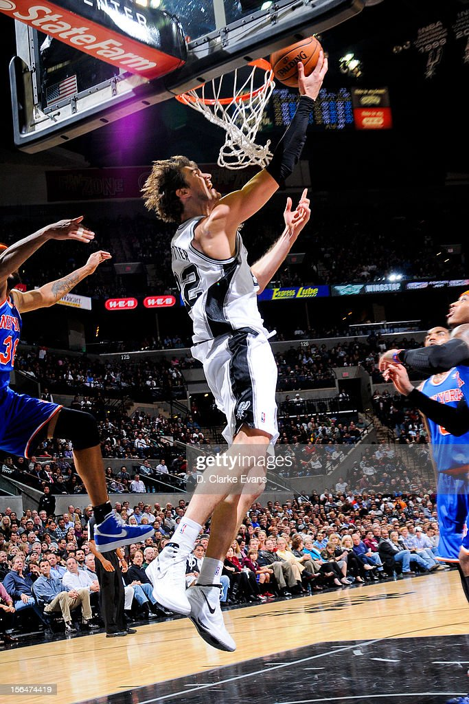 Tiago Splitter #22 of the San Antonio Spurs shoots a reverse layup against the New York Knicks on November 15, 2012 at the AT&T Center in San Antonio, Texas.