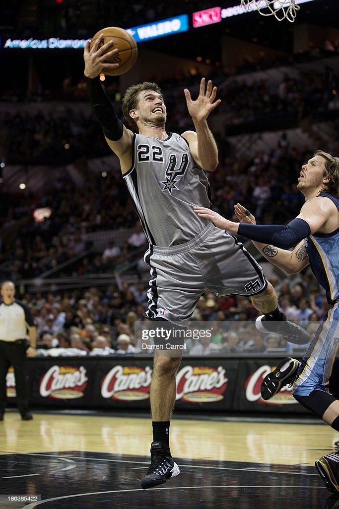 Tiago Splitter #22 of the San Antonio Spurs shoots in a game against the Memphis Grizzlies on October 30, 2013 at the AT&T Center in San Antonio, Texas.