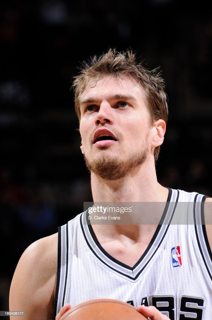 Tiago Splitter #22 of the San Antonio Spurs takes a foul shot against the Charlotte Bobcats on January 30, 2013 at the AT&T Center in San Antonio, Texas.