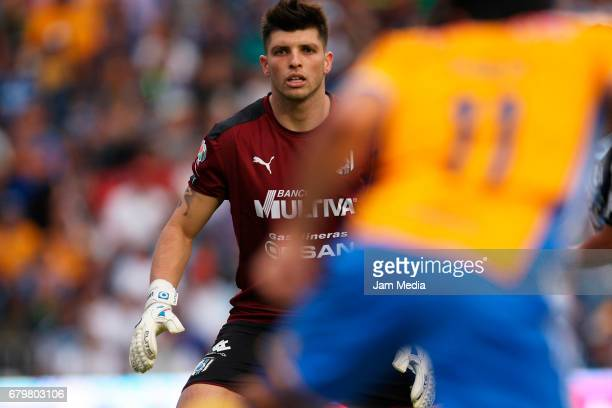Tiago Volpi del Queretaro in action during a match between Queretaro against Tigres as part of the Clausura Tournament 2017 league Bancomer MX at...