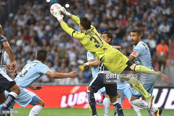 Tiago Volpi goalkeeper of Queretaro catches the ball in the air during the 15th round match between Monterrey and Queretaro as part of the Clausura...