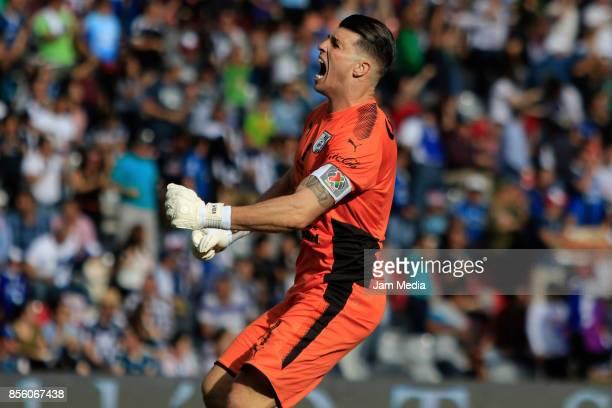 Tiago Volpi goalkeeper of Queretaro celebrates during the 12th round match between Queretaro and Monterrey as part of the Torneo Apertura 2017 Liga...