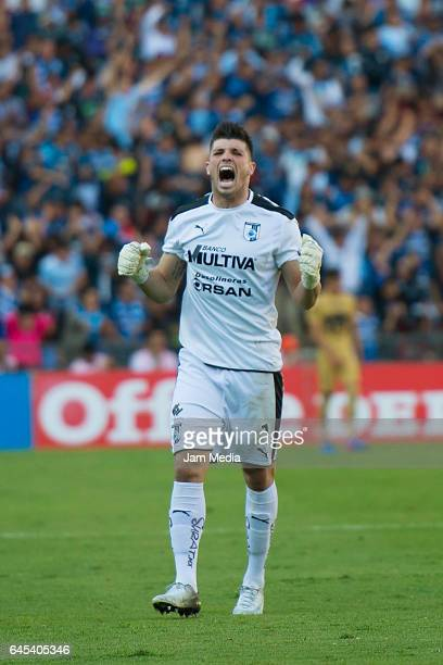 Tiago Volpi goalkeeper of Queretaro celebrates during the 8th round match between Queretaro and Pumas UNAM as part of the Clausura 2017 Liga MX at...