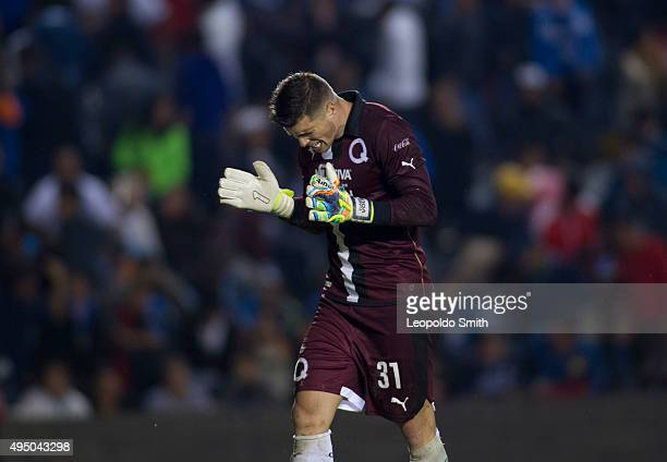 Tiago Volpi goalkeeper of Queretaro celebrates the third goal of his team during the 15th round match between Queretaro and Monterrey as part of the...