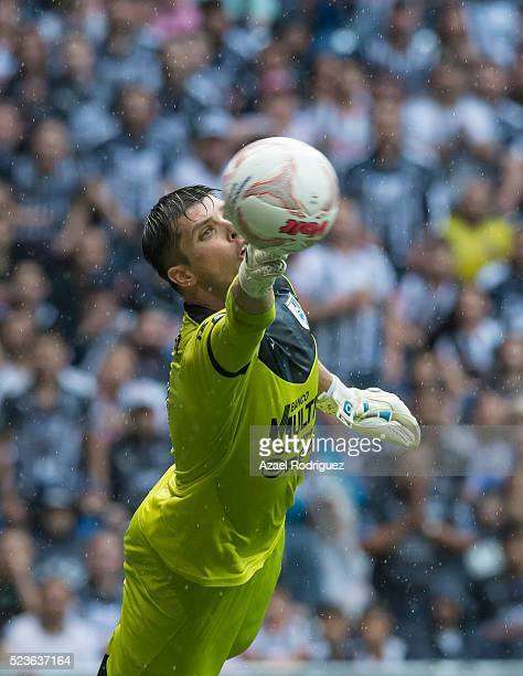 Tiago Volpi goalkeeper of Queretaro deflects the ball during the 15th round match between Monterrey and Queretaro as part of the Clausura 2016 Liga...