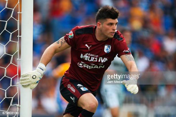 Tiago Volpi goalkeeper of Queretaro in action during a match between Queretaro against Tigres as part of the Clausura Tournament 2017 league Bancomer...