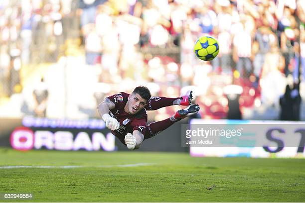 Tiago Volpi goalkeeper of Queretaro jumps for the ball during a match between Queretaro and Chivas as part of the Torneo Clausura 2017 Liga MX at...