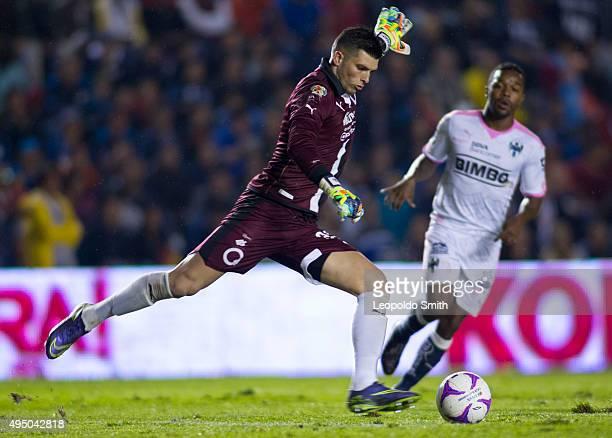 Tiago Volpi goalkeeper of QuerEtaro kicks the ball during the 15th round match between Queretaro and Monterrey as part of the Apertura 2015 Liga MX...