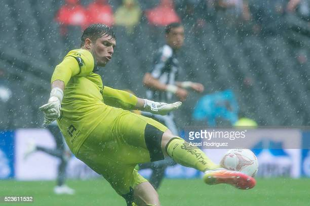 Tiago Volpi goalkeeper of Queretaro kicks the ball during the 15th round match between Monterrey and Queretaro as part of the Clausura 2016 Liga MX...