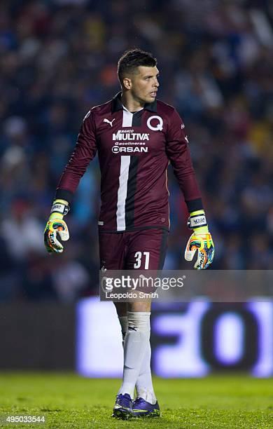 Tiago Volpi goalkeeper of Queretaro looks on during the 15th round match between Queretaro and Monterrey as part of the Apertura 2015 Liga MX at La...