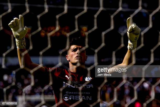 Tiago Volpi goalkeeper of Queretaro raises his arms during the 15th round match between Queretaro and Jaguares as part of the Torneo Clausura 2017...