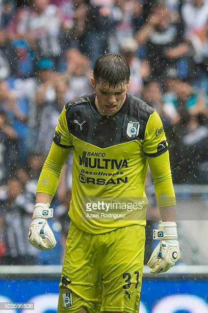 Tiago Volpi goalkeeper of Queretaro reacts after receiving a goal during the 15th round match between Monterrey and Queretaro as part of the Clausura...