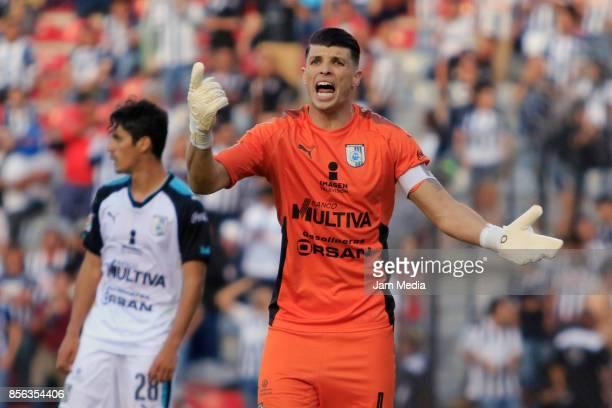 Tiago Volpi goalkeeper of Queretaro reacts during the 12th round match between Queretaro and Monterrey as part of the Torneo Apertura 2017 Liga MX at...