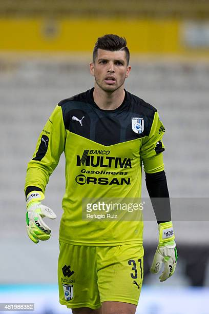Tiago Volpi goalkeeper of Queretaro runs on the field during a 1st round match between Atlas and Queretaro as part of the Apertura 2015 Liga MX at...