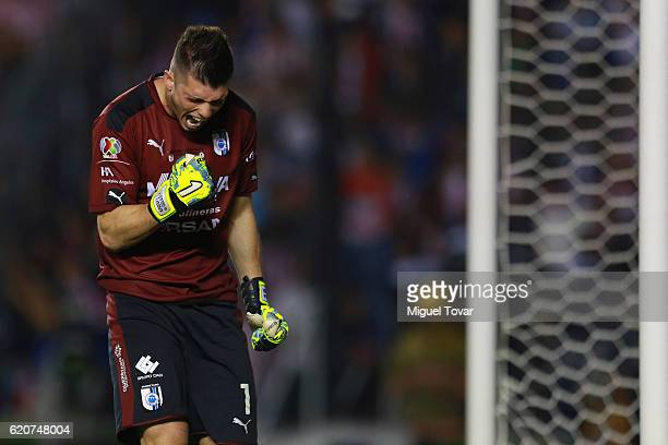 Tiago Volpi of Queretaro celebrates after blocking a shot in the penalty shootout during the final match between Queretaro and Chivas as part of the...