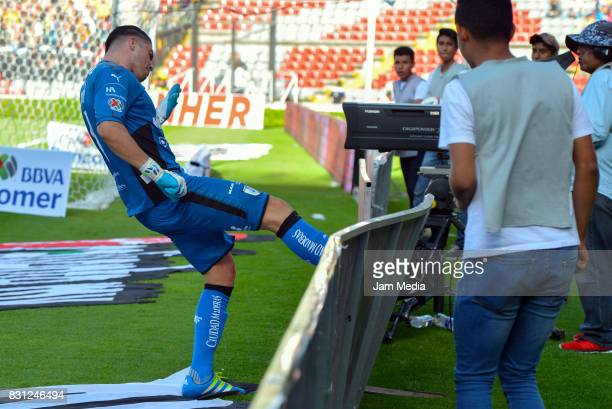 Tiago Volpi of Queretaro celebrates his team second goal during the 4th round match between Queretaro and Morelia as part of the Torneo Apertura 2017...