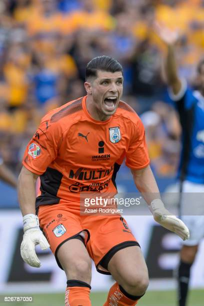Tiago Volpi of Queretaro reacts during the 3rd round match between Tigres UANL and Puebla as part of the Torneo Apertura 2017 Liga MX at...