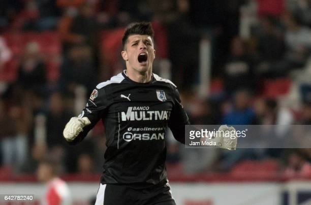 Tiago Volpi of Queretaro reacts during the 7th round match between Necaxa and Queretaro as part of the Torneo Clausura 2017 Liga MX at Victoria...