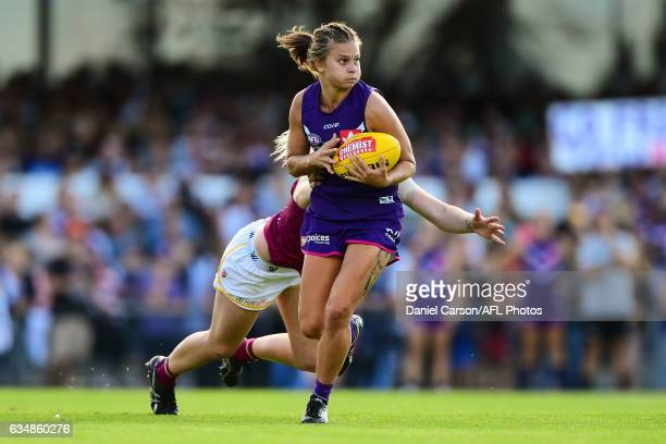 Tiah Haynes of the Dockers in action during the 2017 AFLW Round 02 match between the Fremantle Dockers and the Brisbane Lions at Fremantle Oval on...