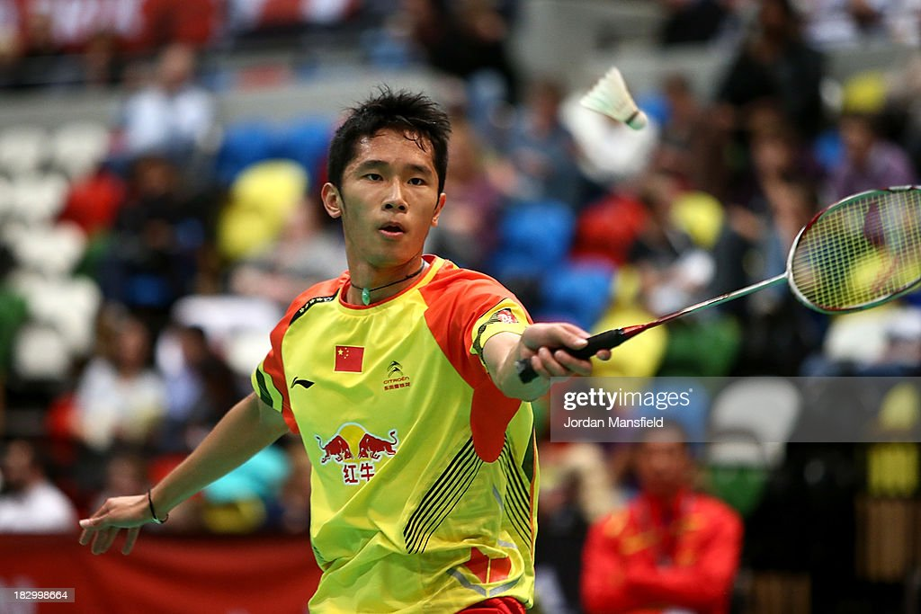 Tian Houwei of China in action in his mens singles match against Jan O Jorgensen of Denmark during Day 3 of the London Badminton Grand Prix at The Copper Box on October 3, 2013 in London, England.