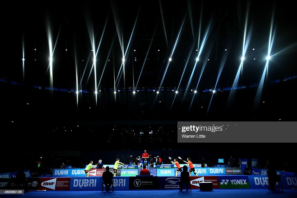 <a gi-track='captionPersonalityLinkClicked' href=/galleries/search?phrase=Tian+Qing&family=editorial&specificpeople=2296575 ng-click='$event.stopPropagation()'>Tian Qing</a> and <a gi-track='captionPersonalityLinkClicked' href=/galleries/search?phrase=Zhao+Yunlei&family=editorial&specificpeople=5534160 ng-click='$event.stopPropagation()'>Zhao Yunlei</a> of China in action against <a gi-track='captionPersonalityLinkClicked' href=/galleries/search?phrase=Luo+Ying+-+Badminton+Player&family=editorial&specificpeople=11643669 ng-click='$event.stopPropagation()'>Luo Ying</a> and <a gi-track='captionPersonalityLinkClicked' href=/galleries/search?phrase=Luo+Yu&family=editorial&specificpeople=11643668 ng-click='$event.stopPropagation()'>Luo Yu</a> of China in the Women's Doubles RR1 match during day one of the BWF Destination Dubai World Superseries Finals at the Hamdan Sports Complex on December 17, 2014 in Dubai, United Arab Emirates.