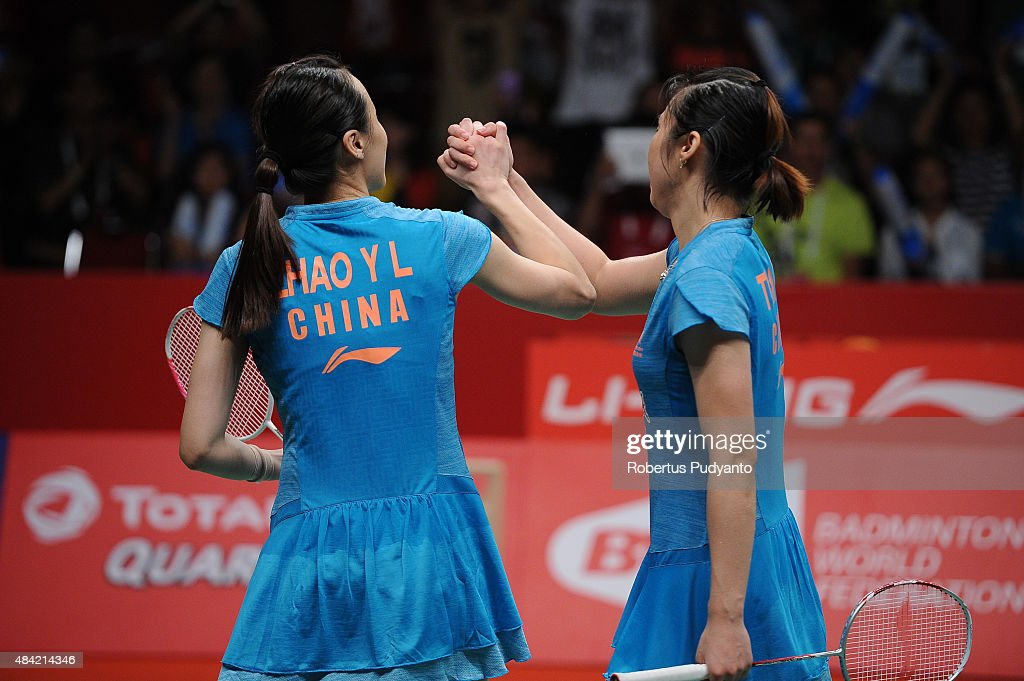 <a gi-track='captionPersonalityLinkClicked' href=/galleries/search?phrase=Tian+Qing&family=editorial&specificpeople=2296575 ng-click='$event.stopPropagation()'>Tian Qing</a> and <a gi-track='captionPersonalityLinkClicked' href=/galleries/search?phrase=Zhao+Yunlei&family=editorial&specificpeople=5534160 ng-click='$event.stopPropagation()'>Zhao Yunlei</a> of China react after defeating Christinna Pedersen and Kamilla Rytter Juhl of Denmark in the women doubles final match of the 2015 Total BWF World Championship at Istora Senayan on August 16, 2015 in Jakarta, Indonesia.