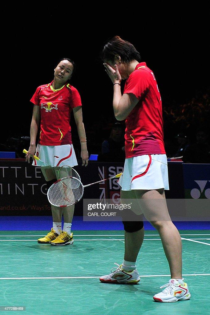 Tian Qing and Zhao Yunlei of China react after losing to Wang Xiaoli and Yu Yang of China during their All England Open Badminton Championships...