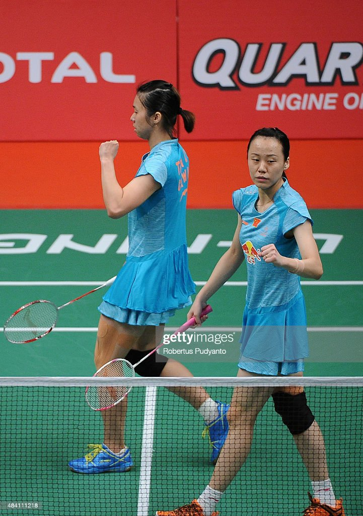 <a gi-track='captionPersonalityLinkClicked' href=/galleries/search?phrase=Tian+Qing&family=editorial&specificpeople=2296575 ng-click='$event.stopPropagation()'>Tian Qing</a> and <a gi-track='captionPersonalityLinkClicked' href=/galleries/search?phrase=Zhao+Yunlei&family=editorial&specificpeople=5534160 ng-click='$event.stopPropagation()'>Zhao Yunlei</a> of China react against Nitya Krishinda Maheswari and Greysia Polii of Indonesia in the semi final match of the 2015 Total BWF World Championship at Istora Senayan on August 15, 2015 in Jakarta, Indonesia.