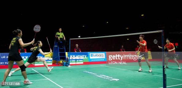 Tian Qing and Zhao Yunlei of China return a shot to Wang Xiaoli and Yu Yang of China during the Finals of the women's doubles at the World Badminton...