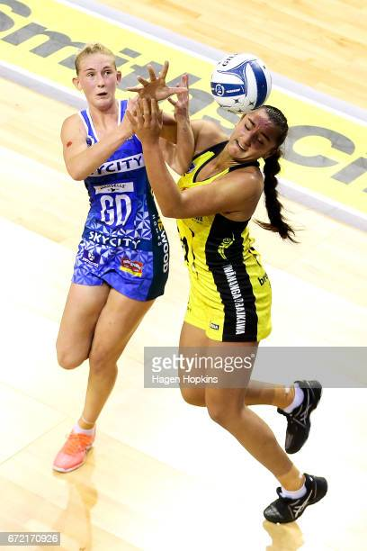 Tiana Metuarau of the Pulse and Michaela SokolichBeatson of the Mystics compete for the ball during the New Zealand Premiership match between the...