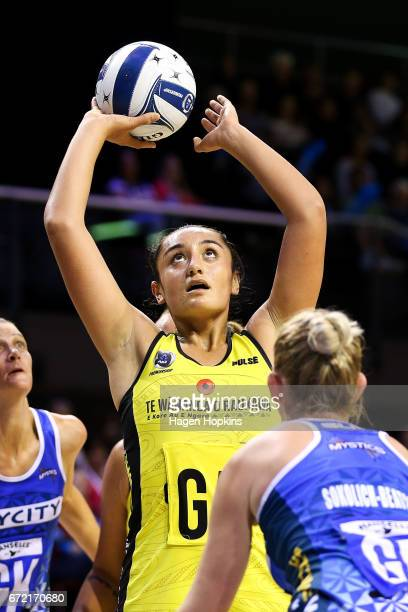 Tiana Metuarau of the Pulse shoots during the New Zealand Premiership match between the Pulse and the Mystics TSB Bank Arena on April 24 2017 in...