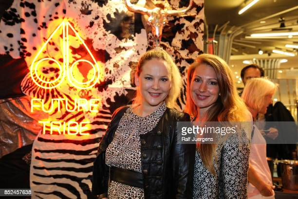 Tiana Pongs and Mara Bergmann pose during the store event 'Moose Knuckles at Breuninger The Future Tribe Party' on September 23 2017 in Duesseldorf...