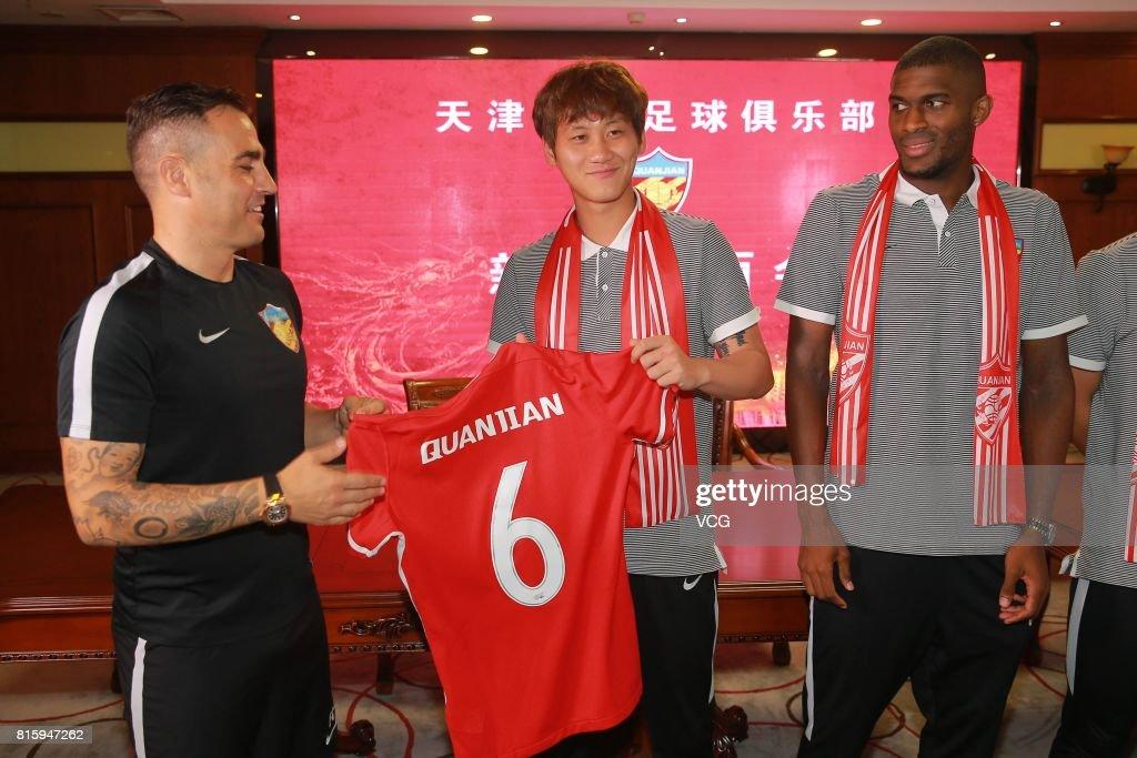 Tianjin Quanjian manager Fabio Cannavaro (L) and Pei Shuai pose at a press conference of Tianjin Quanjian FC on July 17, 2017 in Tianjin, China. Anthony Modeste plays for Tianjin Quanjian in the 2017 Chinese Super League (CSL) matches.