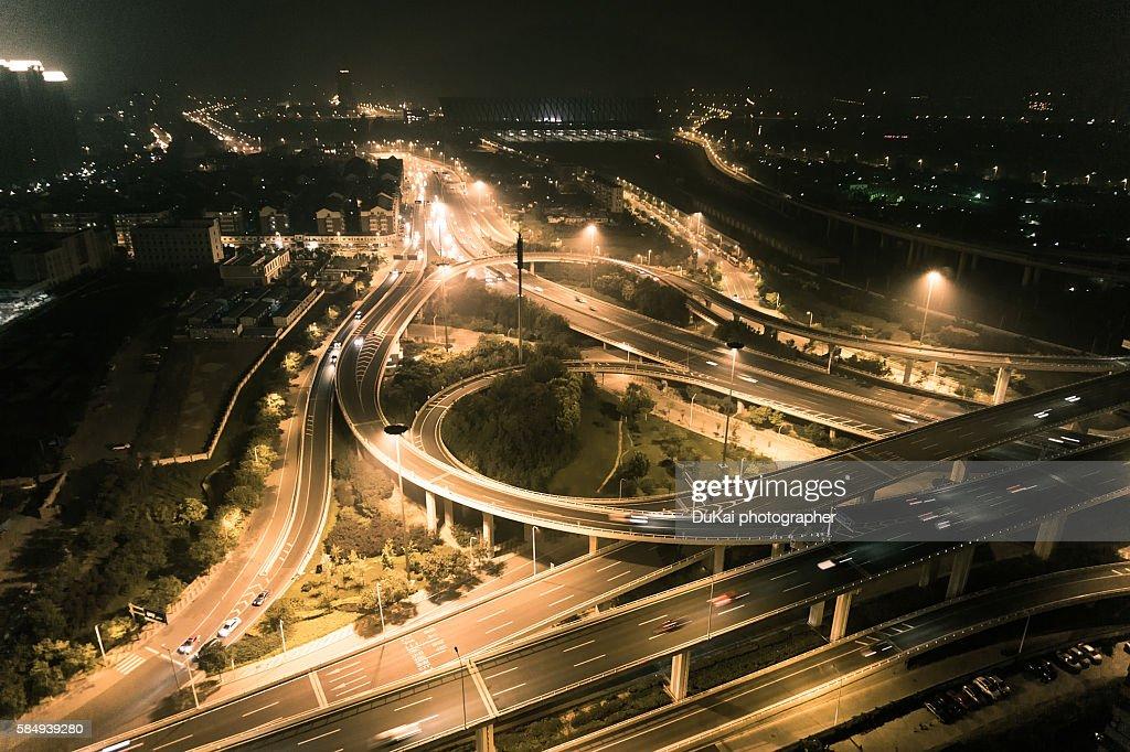 tianjin traffic at night