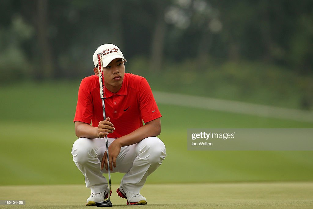 Tian-Lang Guan of China during round one of the 2014 Volvo China Open at Genzon Golf Club on April 24, 2014 in Shenzhen, China.