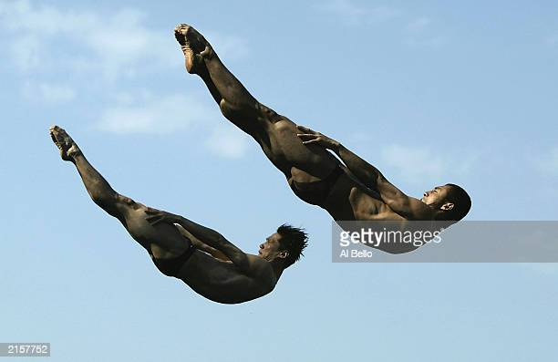 Tianling Wang and Feng Wang of China in action during the Mens 3m Synchronised diving final during the 10th World Swimming Championships 2003 at...