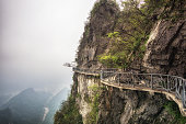 tianmen mountain viewpoint from cliff hanging walkway. tianmen mountain is located in zhangjiajie, china.