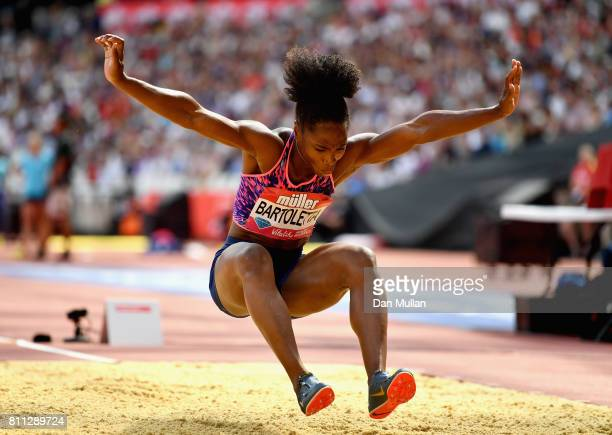 Tianna Bartoletta of the United States competes in the womens long jump during the Muller Anniversary Games at London Stadium on July 9 2017 in...