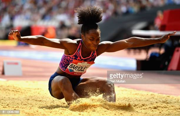 Tianna Bartoletta of the United States competes in the Women's Long Jump during the Muller Anniversary Games at London Stadium on July 9 2017 in...