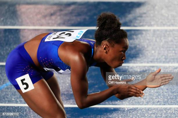 Tianna Bartoletta of the USA prepares to compete in the first heat of the Women's 4x100 Metres Relay during the IAAF/BTC World Relays Bahamas 2017 at...